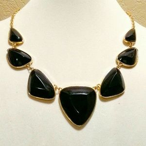 Vinrage Black Lucite Gold Necklace